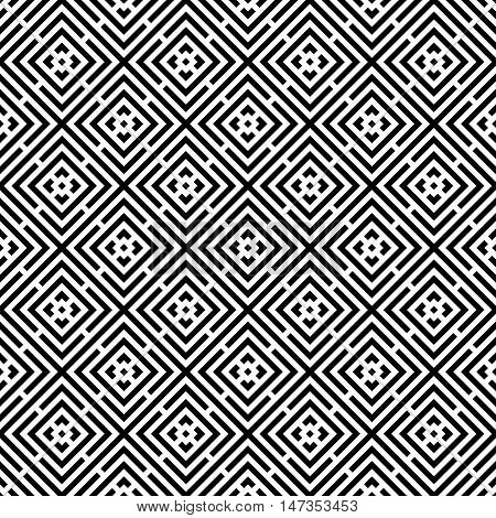 Abstract seamless colorful pattern. Modern background in black and white style. Repeating geometric tiles with rhombus elements.