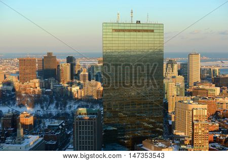 Boston John Hancock Tower and Back Bay Skyline in winter, from top of Prudential Center, Massachusetts, USA
