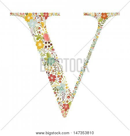 V letter with decorative floral ornament