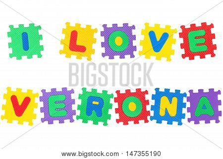 Message I Love Verona from letters puzzle isolated on white background.