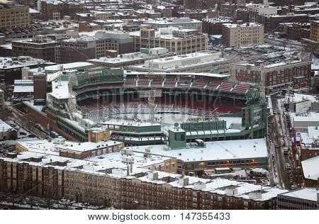 BOSTON, USA - DEC 18, 2013: Fenway Park in winter from Prudential Center in back bay on Dec 18, 2013 in Boston, Massachusetts, USA.
