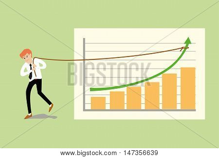 flat cartoon vector illustration of young business man pulling up the rope on green arrow at a business graph bar chart