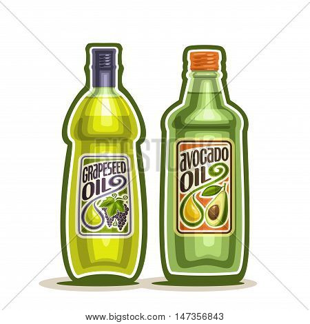 Vector logo 2 green glass Bottle with pure Avocado Oil, bottles virgin cooking Grapeseed oil, container natural organic grape seed and avocado oily liquid with cap and label, closeup isolated on white