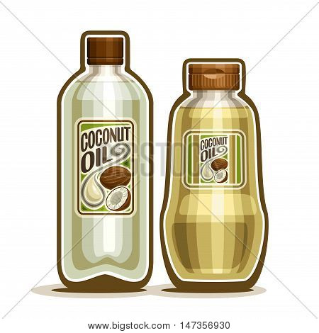 Vector logo 2 yellow plastic and glass Bottle with pure Coconut Oil and label, bottles virgin cooking coconut oil, jar container natural organic coco nut fat liquid with cap, closeup isolated on white