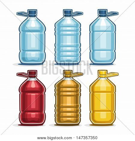 Vector Set logo blue big Plastic Bottles with cap for water, collection of 6 full colorful yellow and red gallon container bottle with handle for cooking oil or chemical liquid isolated on white.