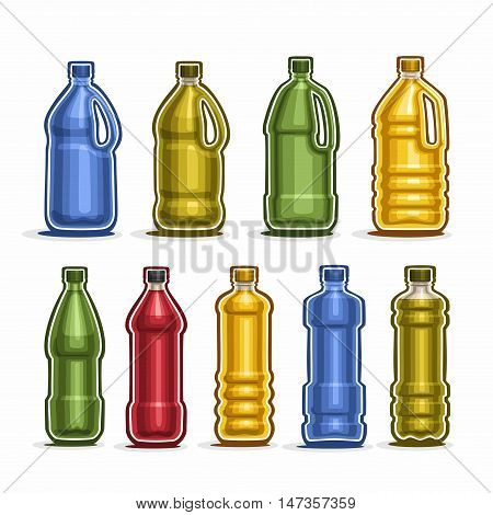 Vector Set logo colored big Plastic Bottles with cap for water, collection of 9 full colorful yellow and green gallon container bottle with handle for cooking oil or chemical liquid isolated on white.