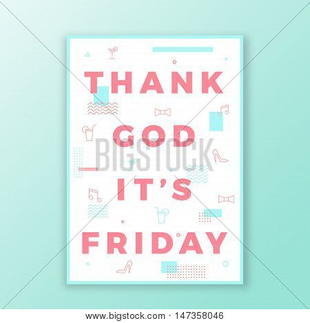 Thank God its Friday Swiss Style Minimal Poster or Flyer. Modern Typography Concept. Mint and Pink Abstract Elements. Soft Realistic Shadow on Light Blue Background.