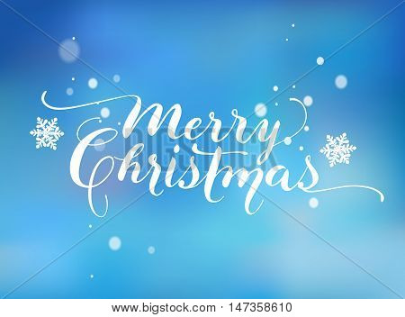 Lettering based on a Nib Calligraphy. Blue background with snowflakes. Merry Christmas. Vector.