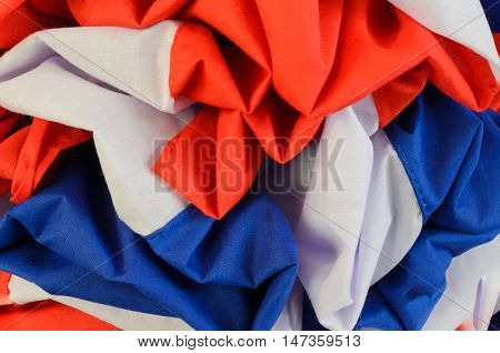 Red white and blue cloth color crease darn offseason.