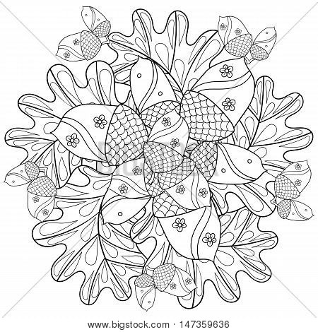 Vector autumn patterned background with oak leaves and trees for adult coloring pages. Hand drawn artistic monochrome illustration in ethnic, zentangle style. Doodle design. A4 size.
