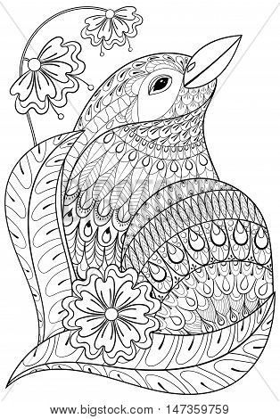 Zentangle exotic bird in flowers. Hand drawn ethnic animal for adult coloring pages, t-shirt patterned print, boho posters and logo. Vector isolated illustration on white background. A4 size.