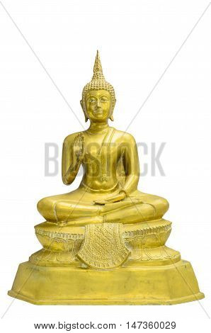 old Buddha statue,Buddha statue cover in gold leaf, Thailand