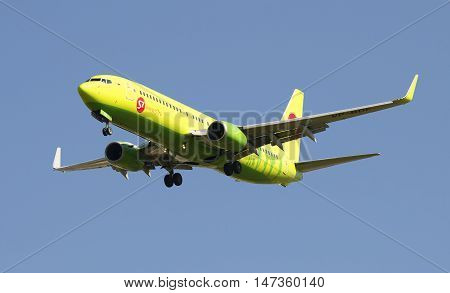 SAINT PETERSBURG, RUSSIA - AUGUST 21, 2015: The Boeing 737-800 (VP-BDF ) in flight