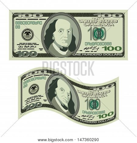 100 dollars on white background. Money isolated. US Cash. One hundred banknote USA