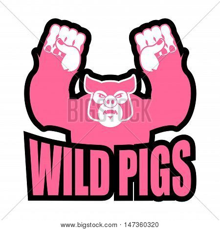 Wild Pigs Logo For Sports Team. Angry Pig. Aggressive Big Boar. Grumpy Farm Animal.