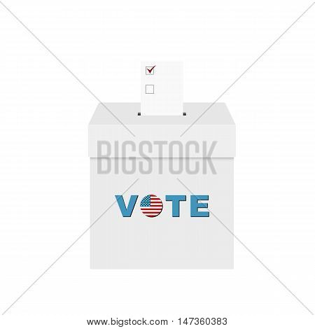 Ballot box with ballot paper isolated on white background. Vector illustration.