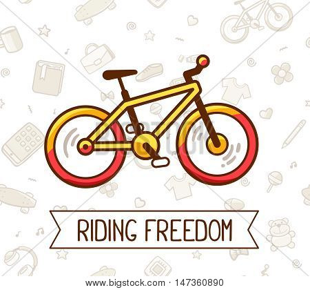 Vector illustration of colorful bicycle with ribbon and text on white pattern background. Doodle style. Bike adventure concept. Thin line art flat design of bicycle riding on the bicycle cycling theme
