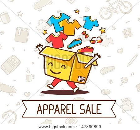 Vector Colorful Illustration Of Yellow Cheerful Character Shopping Box With Apparel, Shoe  Inside An