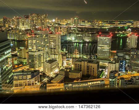 Tokyo, Japan - February 22 2014 - View of the city skyline at night from the WTC building Tokyo Japan
