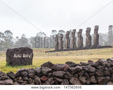 The Ahu Akivi under the rain Easter Island Chile