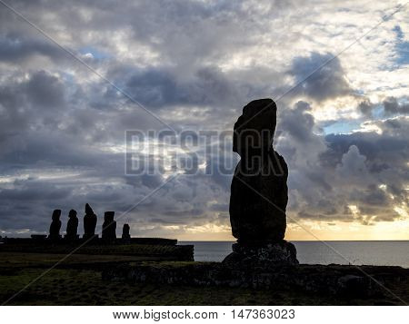 Sunset in Ahu Tahai, Easter Island, Chile