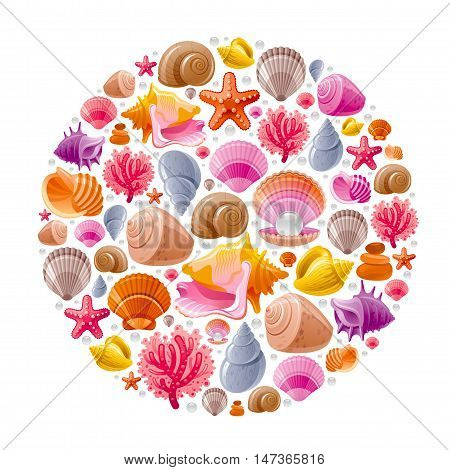 Sea travel icon set with underwater diving animals - seashell, scallop, mollusk shell and more marine shells icons. Vector illustration abstract templte . Elegant modern style, white background.