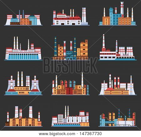 Industrial plant and factory with chimney set of icons in cartoon style. Hydro, nuclear, thermal, chemical, petrochemical dirty and heavy energy production from fuel polluting nature and environment.