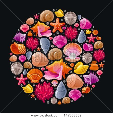 Sea travel icon set with underwater diving animals - seashell, scallop, mollusk shell and more marine shells icons. Vector illustration abstract templte . Elegant modern style, black background.