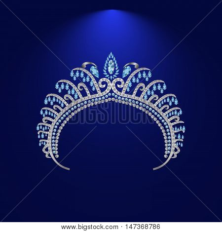 diadem corona feminine wedding with light stone