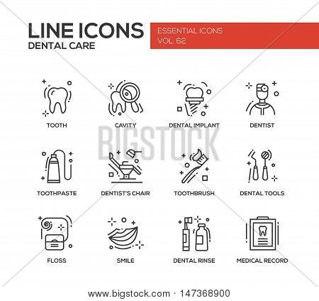 Dental care - set of modern vector plain line design icons and pictograms. Tooth, cavity, implant, toothpaste, dentist chair, toothbrust, tools, floss, smile rinse medical record