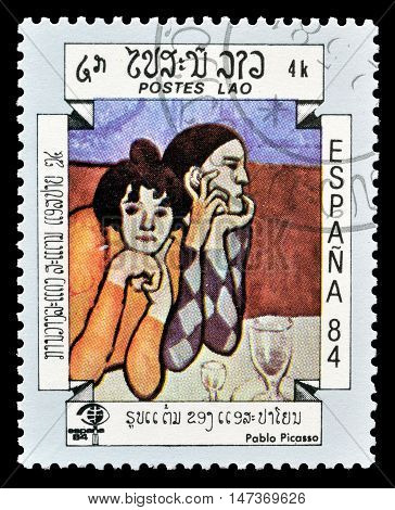 LAOS - CIRCA 1984 : Cancelled postage stamp printed by Laos, that shows painting by Pablo Picasso.