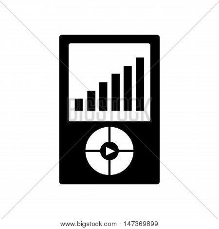 Mp3 player icon. Portable media player symbol. Silhouette flat design vector illustration