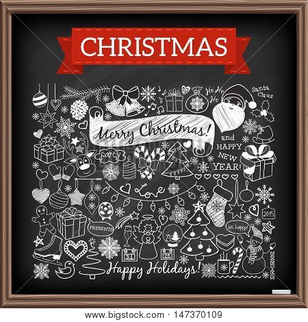 Doodle Christmas season icons and vintage graphic elements. Chalkboard effect. Santa Claus, reindeer, snow man, cute Christmas decorations. Scrapbooking, infographics.