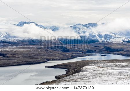 View Of Lake Tekapo From Above, New Zealand