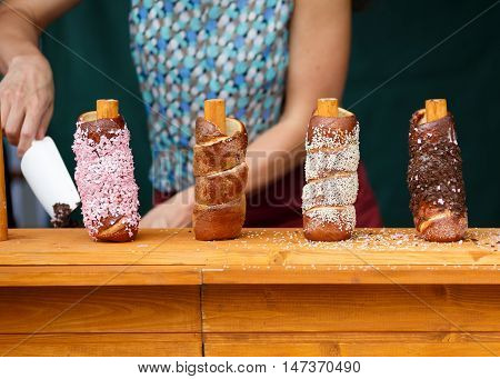 Trdelnik is traditional sweet food in Czech Republic and some other contry in EU. It is very popular among tourists.