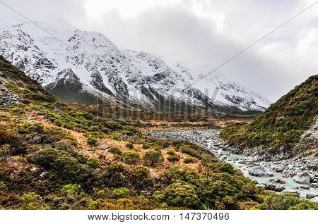 Hooker Track In Aoraki/mount Cook National Park, New Zealand