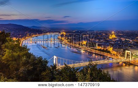 Night view of Budapest,Hungary with Elisabeth brudge over Danube river from fortress Citadel.