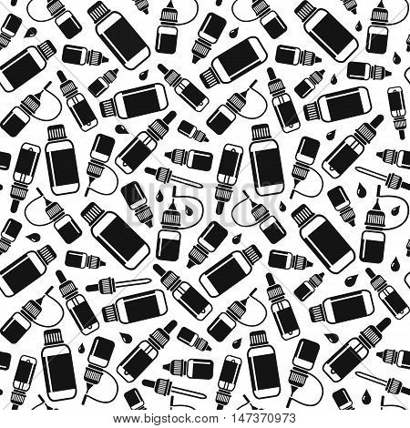 Endless background for vape shop and vapor bar e-cigarette and e-liquid store isolated on white background. Vector seamless pattern of E-Liquid bottles