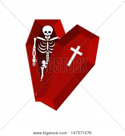 Skeleton In Coffin. Open Casket And Skull And Bones. Dead Man In Hearse. Illustration For Halloween