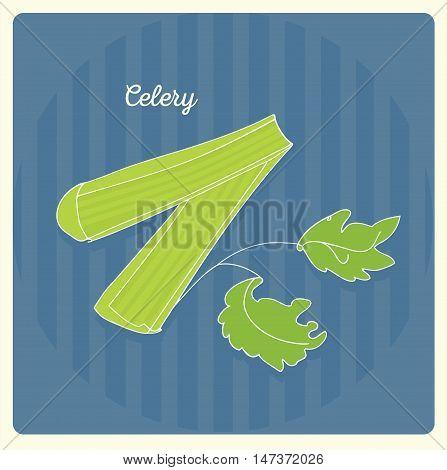 Celery. Vector color hand-drawn illustration. Sketch, doodle.