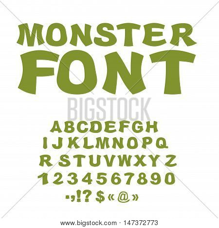 Monster Font. Green Swamp Letters. Horrible Alphabet. Scary Abstract Abc