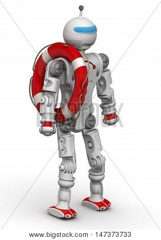 Robot-lifeguard. Humanoid robot with a lifebuoy. Isolated. 3D Illustration