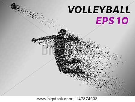 Volleyball, particle divergent composition, vector illustration. Silhouette of a volleyball from particles.
