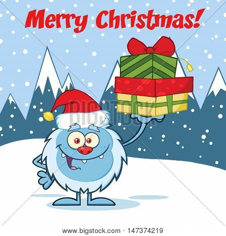 Smiling Little Yeti Cartoon Mascot Character With Santa Hat Holding Up A Gifts. Illustration Over Snow Mountains Background With Text Merry Christmas
