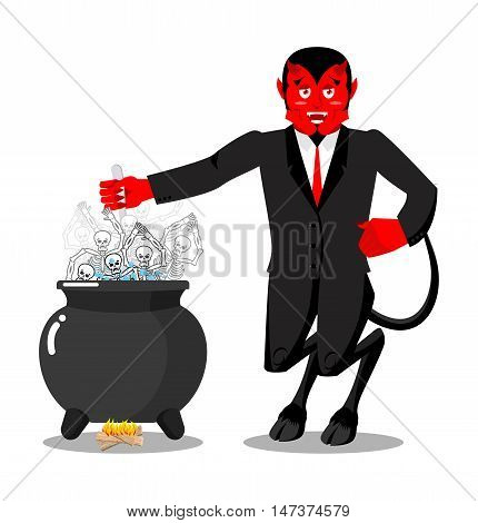 Satan Roasts Sinners Boiler. Demon Cooking Big Black Pan. Skeletons In Boiling Pitch. Hells Torments