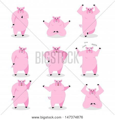 Pig Set Of Different Poses. Expression Of Wild Boar Emotions. Farm Animal Evil And Good. Sad And Hap