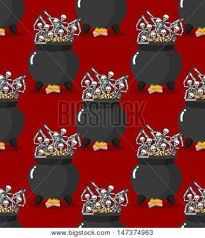 Sinners In Pot In Hell Seamless Pattern. Skeletons Are Cooked In Resin In Lower Parts. Dead Are Expe