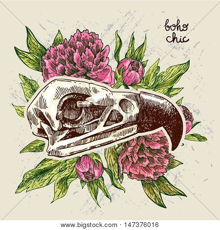 Vector sketch illustration  animal skull. Drawing by hand. Boho style.