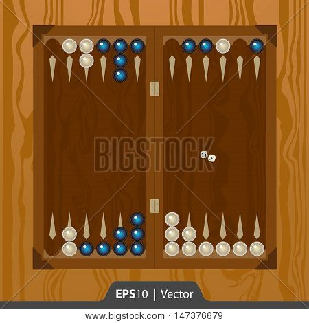 Backgammon Set For Game Development Interface Design In Two Colors