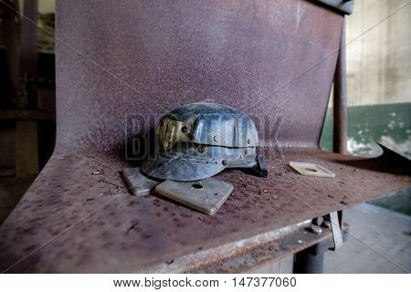 miner`s helmet from forth pit in Anina, Romania